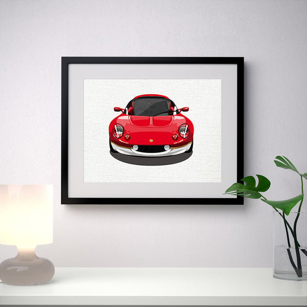 "Lotus Elise S1 Type 49 - ""Canvas"" background - A3/A4 Stylised Print"