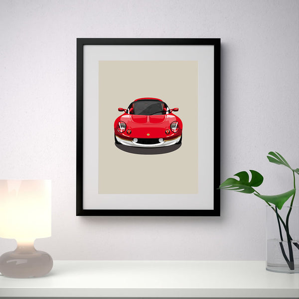 Lotus Elise S1 Type 49 - Taupe - A3/A4 Stylised Print