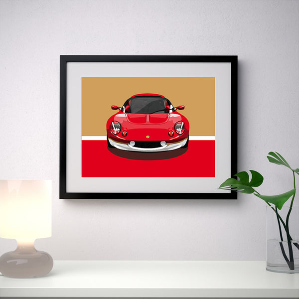 Lotus Elise S1 Type 49 - Red/Gold - A3/A4 Stylised Print