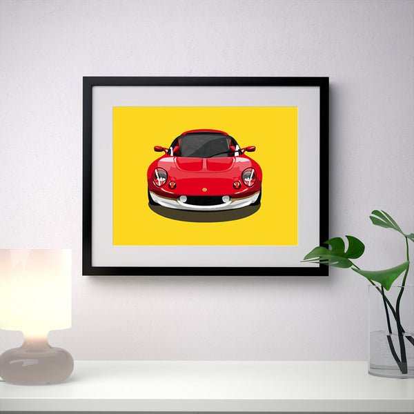 Lotus Elise S1 Type 49 - Yellow - A3/A4 Stylised Print