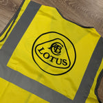 Hi-vis yellow vest / tabbard with LOTUS logo front & rear