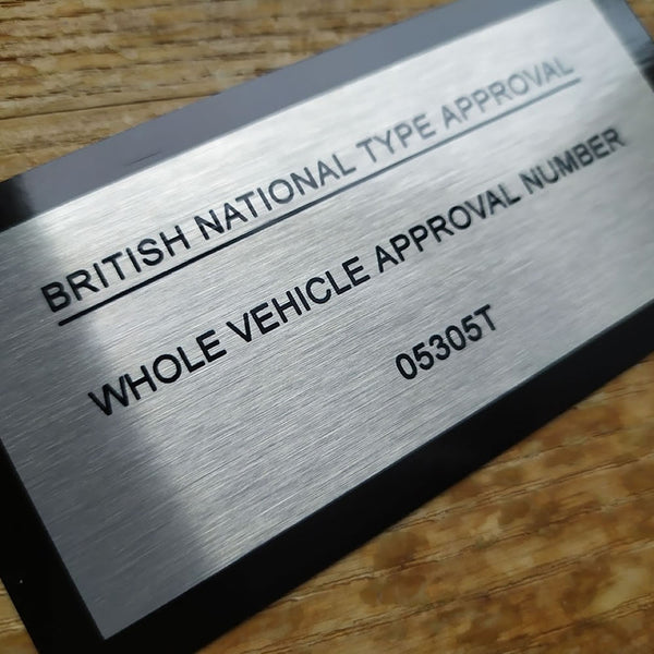 "TVR ""Type Approval"" aluminium metal plate - Wedge / Griffith / Chimaera / Cerbera / Sagaris"