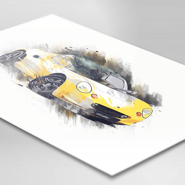 "Lotus Elise S1 - Norfolk Mustard (yellow) / Black - A3/A4 Print ""Splatter"""