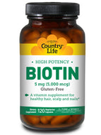 High Potency Biotin 5 mg 120 vegcaps Country Life