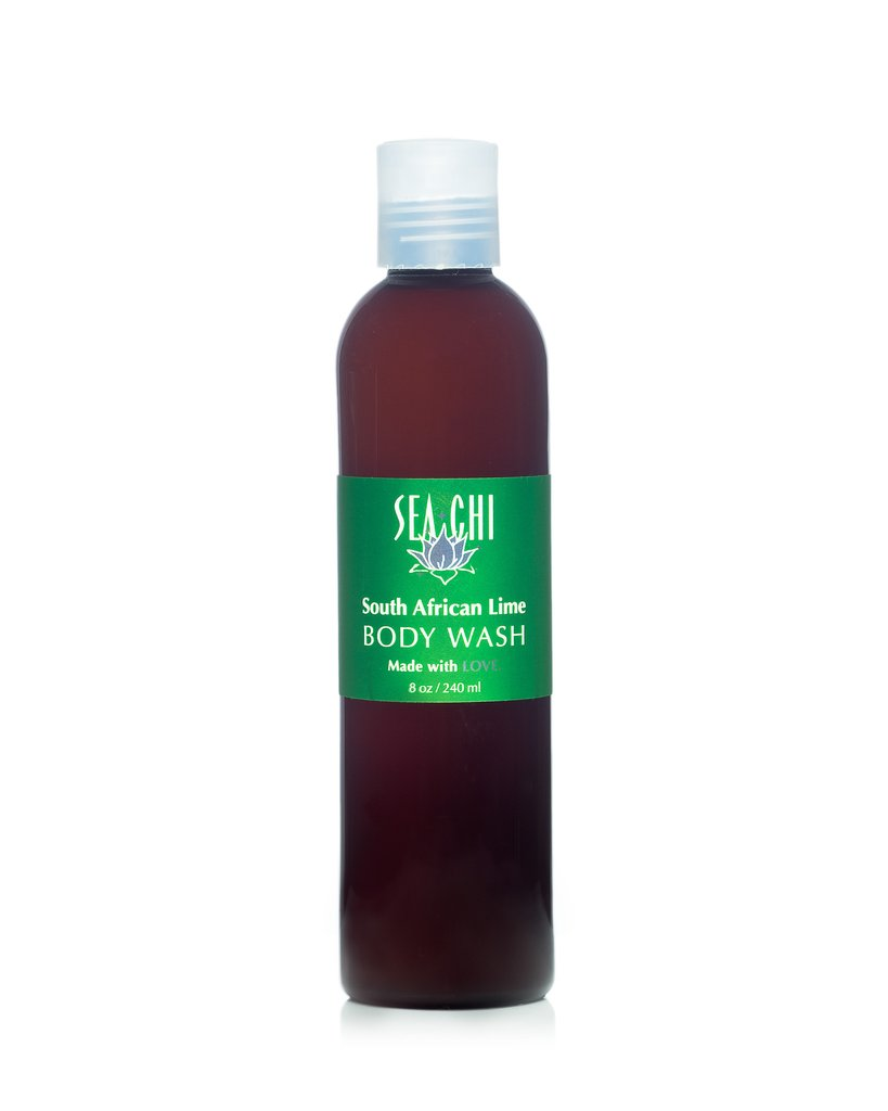 South African Lime Body Wash 240ml / 8oz Amber plastic bottle w/ white flip cap Sea Chi Organics