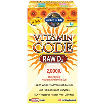 Garden Of Life Vitamin Code RAW D3 120 caps