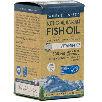 Wild Alaskan Fish Oil Vit K2 60 softgels Wiley's Finest