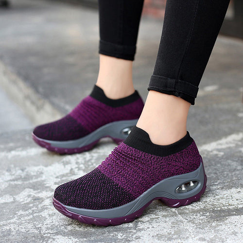 2019 fashion round toe wedges breathable mesh sneakers