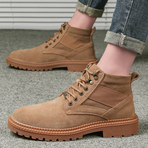 Suede Leather Mens Soldier Ankle Boot
