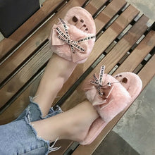 Load image into Gallery viewer, 2019 Woman Slip on Flats Cute Bowtie Female furry Slides winter slippers