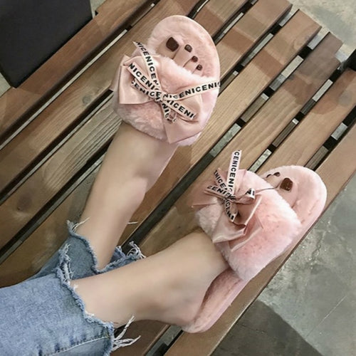 2019 Woman Slip on Flats Cute Bowtie Female furry Slides winter slippers