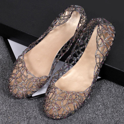 Summer Shoes Casual Jelly Female Bling Mesh Hollow Out Flats Sandals