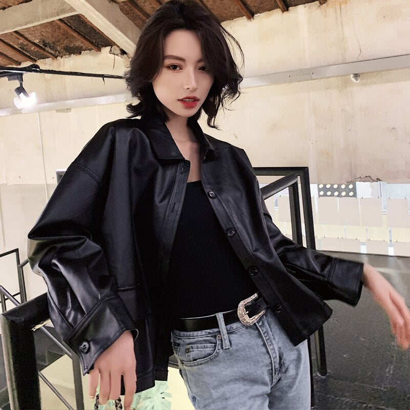 2020 New Spring BF Loose Leather Short Coat