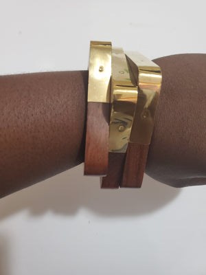Wooden Jewelry - Wood & Brass Bangle