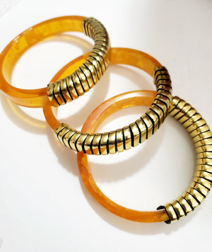 Vintage Jewelry Set- Lucite Bangles with Brass finish