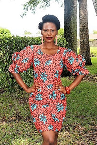 African Print...Lolu puff Sleeve dress