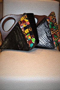Leather & African Print _ Keadi Clutch