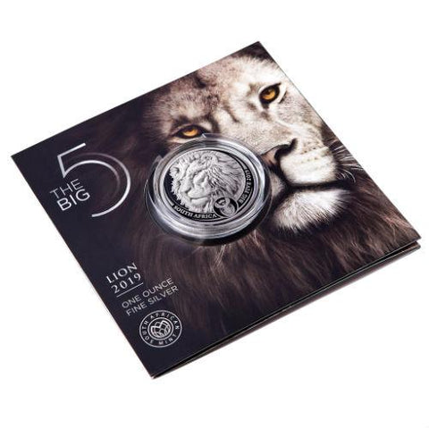 2019 South Africa 1 oz Silver Big Five Lion Bu, Natura Big 5