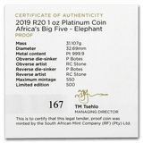 Big 5 Elephant Proof Platinum 1oz Pt 999.5, Natura Big 5