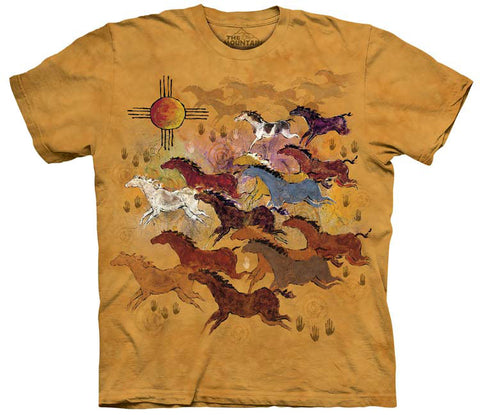 Indian T-Shirt | Horses and Sun Adult-Gifts from DePanda