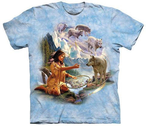 Indian T-Shirt | Dreams of Wolf Spirit Adult-Gifts from DePanda