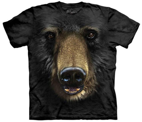 Bear T-Shirt | Black Bear Face Adult-Gifts from DePanda