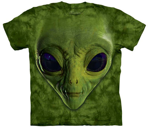 Alien T-Shirt | Green Alien Face Adult-Gifts from DePanda