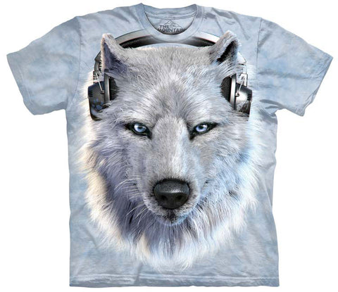 Wolf T-Shirt | White Wolf DJ Adult-Gifts from DePanda