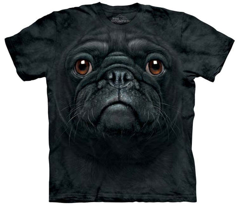 Dog T-Shirt | Black Pug Face Adult-Gifts from DePanda