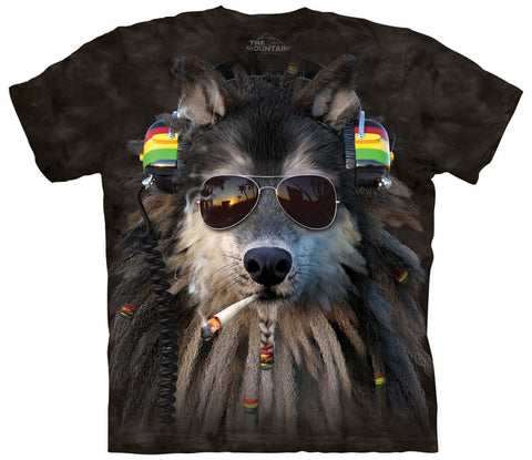 Wolf T-Shirt | Smoking Rasta Wolf Adult-Gifts from DePanda