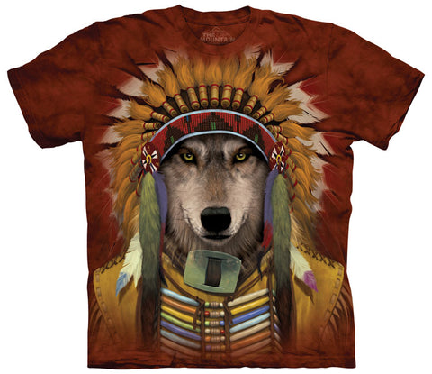 Indian T-Shirt | Wolf Spirit Chief Adult-Gifts from DePanda