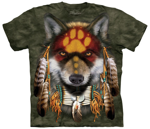 Indian T-Shirt | Native Wolf Spirit Adult-Gifts from DePanda