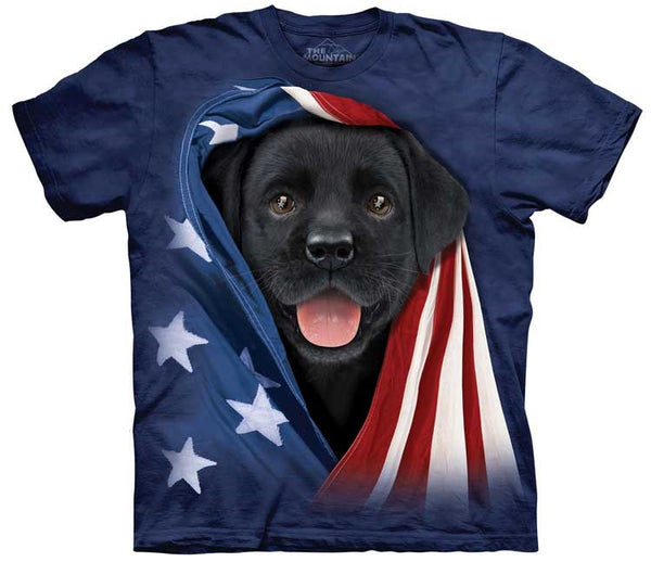 82e927f4 Puppy T-Shirt | Patriotic Black Lab Pup Adult – Gifts from DePanda