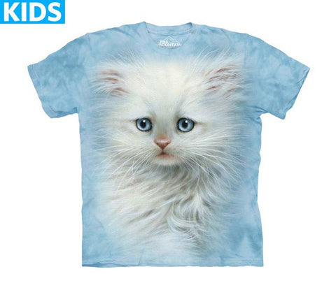 Kitten T-Shirt | Fluffy White Kitten Kids-Gifts from DePanda