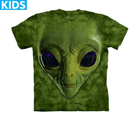 Alien T-Shirt | Green Alien Face Kids-Gifts from DePanda
