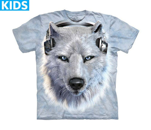 Wolf T-Shirt | White Wolf DJ Kids-Gifts from DePanda