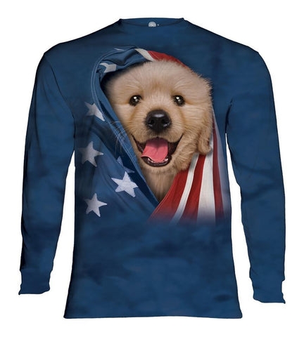 Puppy Long Sleeve | Patriotic Golden Pup-Gifts from DePanda