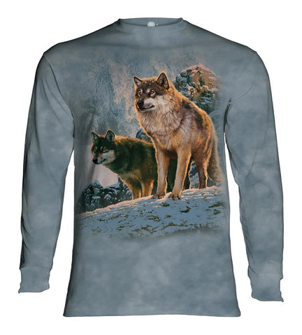 Wolf Long Sleeve | Wolf Couple Sunset-Gifts from DePanda