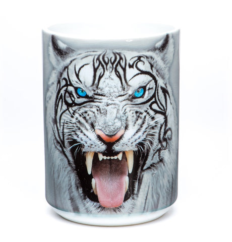 Tiger Coffee Mug | Big Face Tribal White Tiger