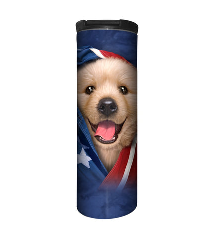 Puppy Travel Mug | Patriotic Golden Pup-Gifts from DePanda