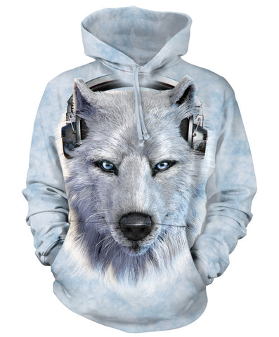 Wolf Hoodie Sweatshirt Adult | White Wolf DJ-Gifts from DePanda