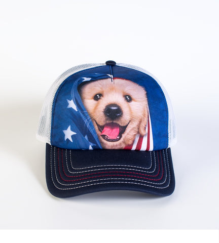 Puppy Trucker Hat | Patriotic Golden Pup-Gifts from DePanda