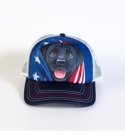 Puppy Trucker Hat | Patriotic Black Lab Pup-Gifts from DePanda