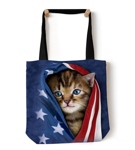Kitten Tote Bag | Patriotic Kitten-Gifts from DePanda
