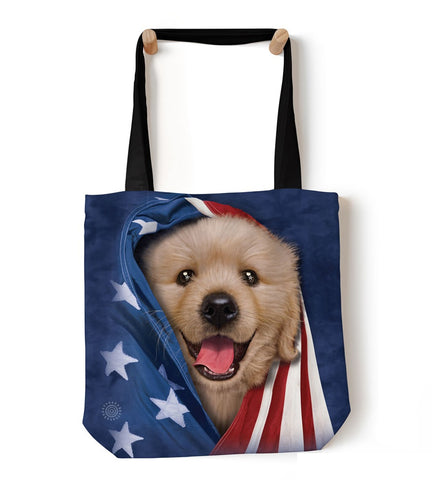 Puppy Tote Bag | Patriotic Golden Pup-Gifts from DePanda