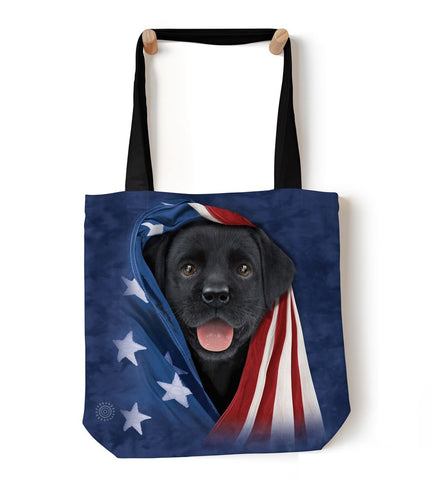 Puppy Tote Bag | Patriotic Black Lab Pup-Gifts from DePanda