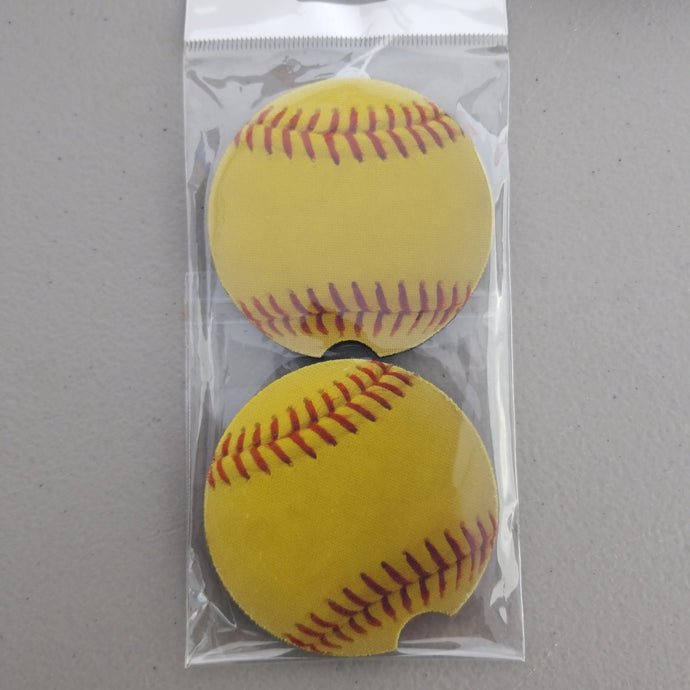 Softball Car Coasters
