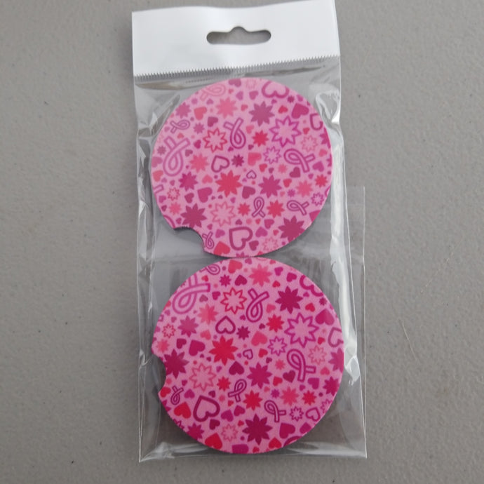 Breast Cancer Awareness Car Coasters
