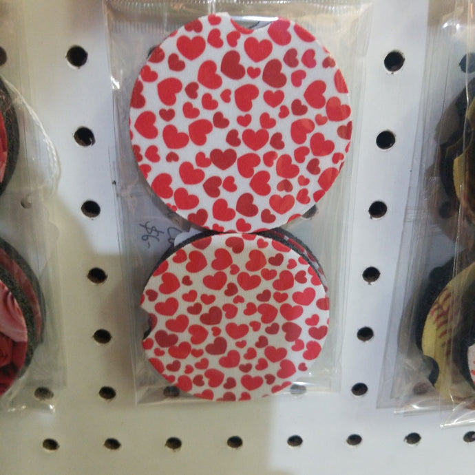 Hearts Car Coasters