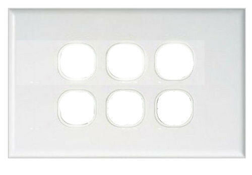 14129 Gunn 6 Gang Blank Wall Plate ((BOX OF 5)) Classico Slim White.